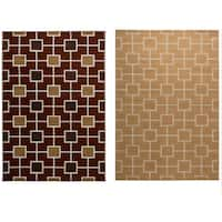 """Rizzy Home Millington Collection Power-loomed Geometric Gold/ Rust Rug (6'7 x 9'6) - 6'7"""" x 9'6"""""""