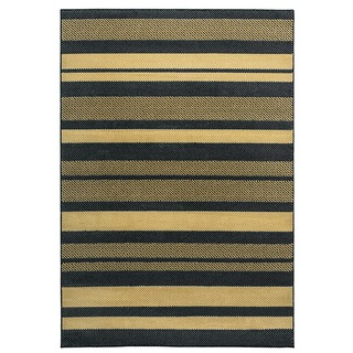Rizzy Home Millington Collection Power-loomed Stripe Black/ Rust Rug (6'7 x 9'6)