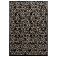 "Rizzy Home Millington Collection Power-loomed Trellis Black/ Grey Rug - 6'7"" x 9'6"""