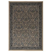 Rizzy Home Millington Collection Power-loomed Border Ivory/ Grey Rug (6'7 x 9'6) - 6'7 x 9'6