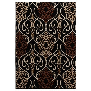 Rizzy Home Millington Collection Power-loomed Trellis Black/ Rust Rug (6'7 x 9'6)