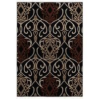 "Rizzy Home Millington Collection Power-loomed Trellis Black/ Rust Rug (6'7 x 9'6) - 6'7"" x 9'6"""