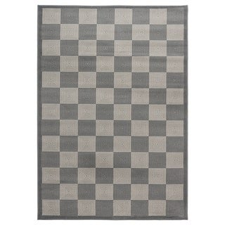 Rizzy Home Millington Collection Power-loomed Check Grey/ Ivory Rug (6'7 x 9'6)