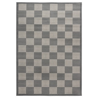 Rizzy Home Millington Collection Power-loomed Check Grey/ Ivory Rug (5'3 x 7'7)