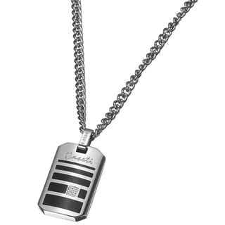 Caseti Sunderland Stainless Steel Black Enamel Pendant and Chain