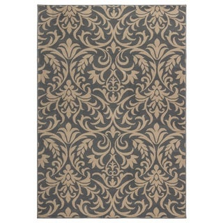 Rizzy Home Millington Collection Power-loomed Trellis Grey/ Ivory Rug (6'7 x 9'6)