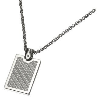 Caseti Indarra Silver Carbon Fiber Pendant with Chain
