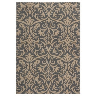 Rizzy Home Millington Collection Power-loomed Trellis Grey/ Ivory Rug (5'3 x 7'7)