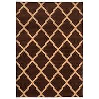 Rizzy Home Millington Collection Power-loomed Ikat Brown/ Ivory Rug - 6'7 x 9'6