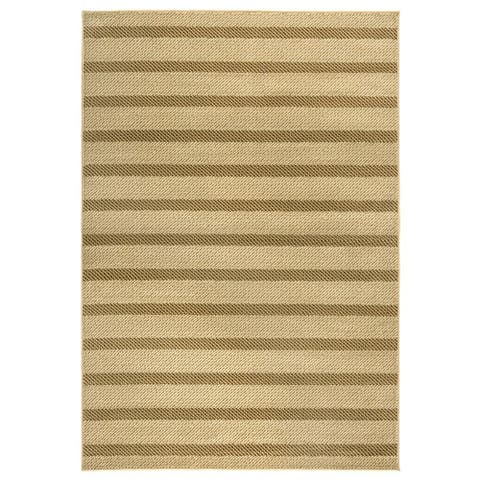 """Rizzy Home Millington Collection Power-loomed Stripe Ivory/ Rust Rug (6'7 x 9'6) - 6'7"""" x 9'6"""""""