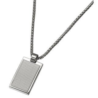 Caseti Grid Stainless Steel Pendant with Chain