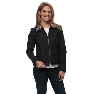 Live A Little Women's Fur Collar Zip Front Denim Jacket