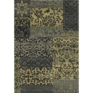 Rizzy Home Sorrento Collection Power-loomed Abstract Beige/ Burgundy Rug (7'10 x 10'10)