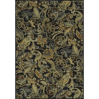 Rizzy Home Sorrento Collection Power-loomed Paisley Black/ Grey Rug (9' x 12')