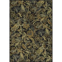 Rizzy Home Sorrento Collection Power-loomed Paisley Black/ Grey Rug - 7'10 x 10'10