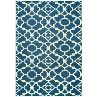 "Rizzy Home Sorrento Collection Power-loomed Trellis Blue Rug (6'7 x 9'6) - 6'7"" x 9'6"""