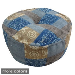 Handmade Round Dhurrie Pouf (India)