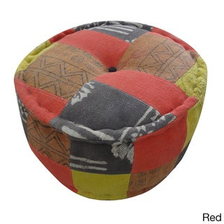 Handmade Round Dhurrie Pouf (India)