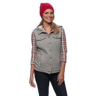 Live A Little Women's French Terry Hooded Jean Vest