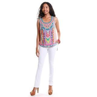 Hadari Women's Tribal Print Racerback Tank and Straight Leg Pants (2 Piece Outfit)