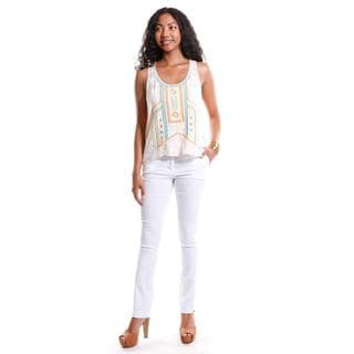 Hadari Women's Embroidered Tank and Straight Leg White Pants (2 Piece Outfit)