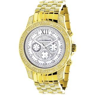 Luxurman Men's Raptor Yellow Goldplated 1/2ct Diamond Watch