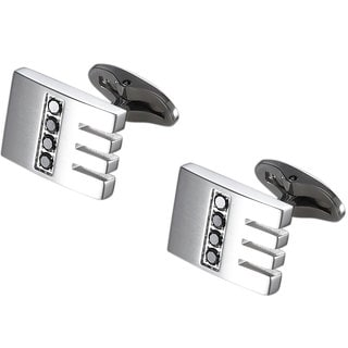 Caseti Kew Stainless Steel and Black Crystal Cuff Links