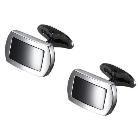 Caseti Turbo Stainless Steel and Black Onyx Cufflinks