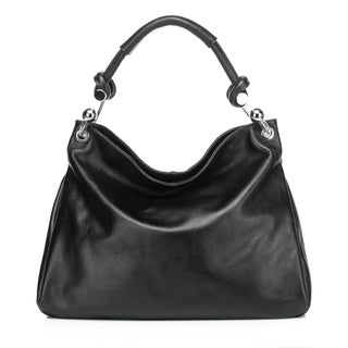Vicenzo Leather Kimberly Leather Tote Shoulder Handbag -Black
