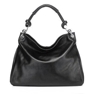 Vicenzo Leather Kimberly Leather Tote Shoulder Handbag -Black