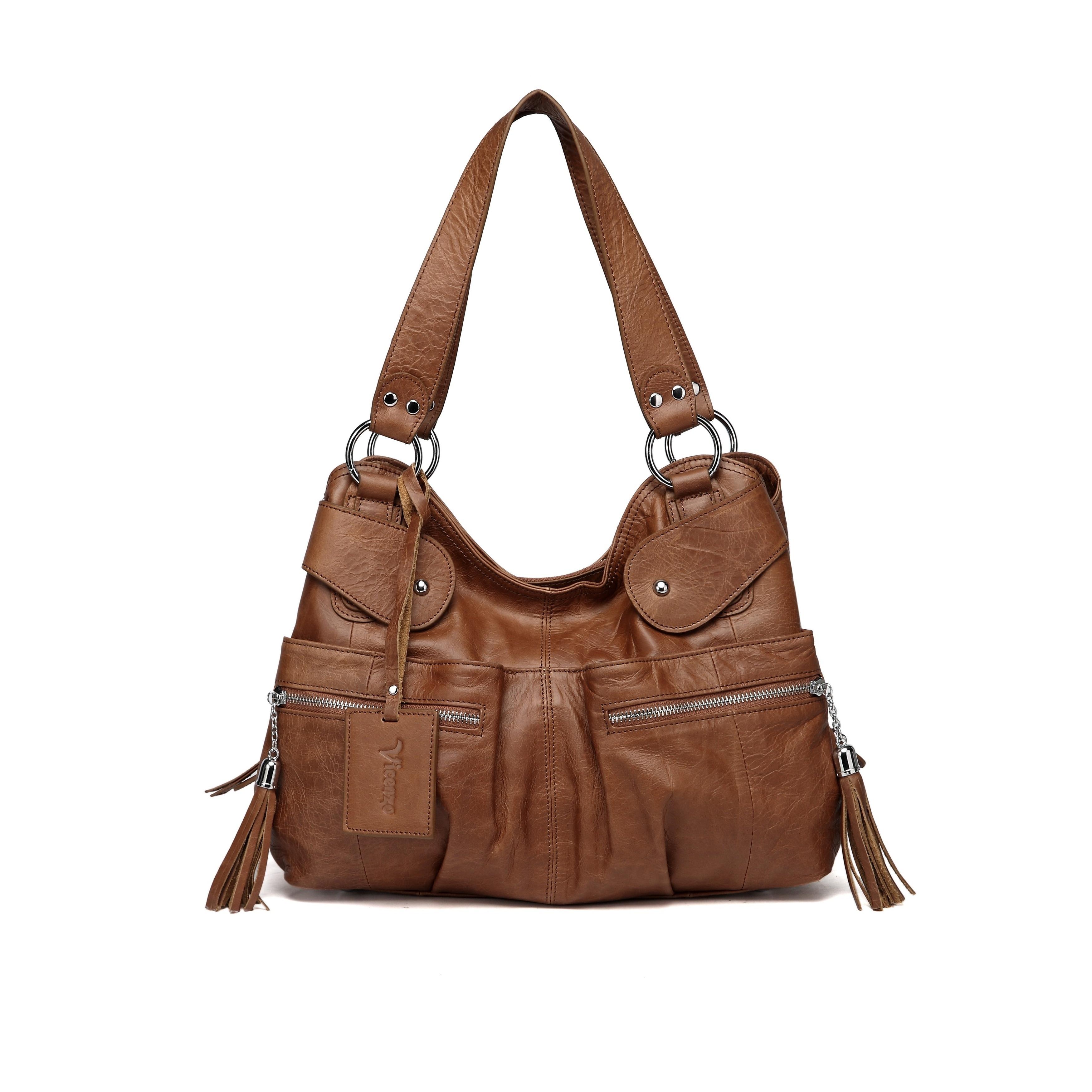 Vicenzo Leather Athena Tan Italian Handbag