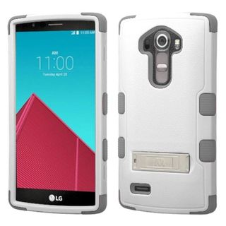 Insten Hard PC/ Soft Silicone Dual Layer Hybrid Rubberized Matte Phone Case Cover with Stand For LG G4