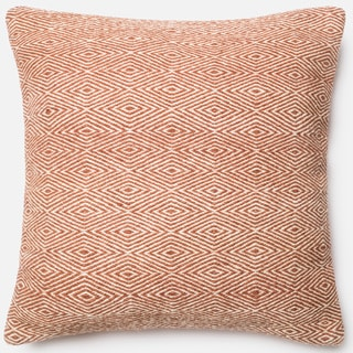 Poplin Natural Rust Woven Wool Down Feather or Polyester Filled 22-inch Throw Pillow or Pillow Cover
