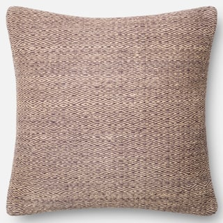 Poplin Natural Purple Woven Wool Down Feather or Polyester Filled 22-inch Throw Pillow or Pillow Cover