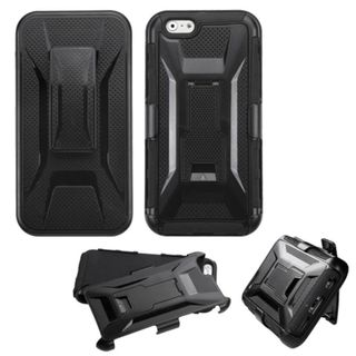 Insten Black Hard PC/ Soft Silicone Dual Layer Hybrid Phone Case Cover with Holster For Apple iPhone 6
