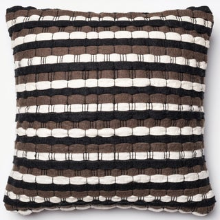 Rhythm Black/ Brown Stripe Felted Wool Down Feather or Polyester Filled 22-inch Throw Pillow or Pillow Cover