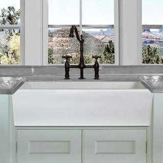 Highpoint Collection 36-in Reversible Italian Fireclay Farmhouse Sink