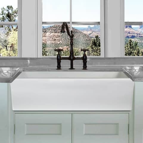 Highpoint Collection White 36 Inch Single Bowl Rectangle Fireclay Farmhouse Kitchen Sink