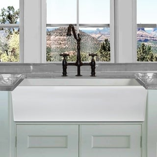 Highpoint Collection White 36-inch Single Bowl Rectangle Fireclay Farmhouse Kitchen Sink