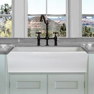 Highpoint Collection White 36-inch Single Bowl Reversible Fireclay Farmhouse Kitchen Sink