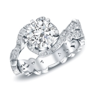 Auriya 14k White Gold 1 1/2ct Round Diamond Engagement