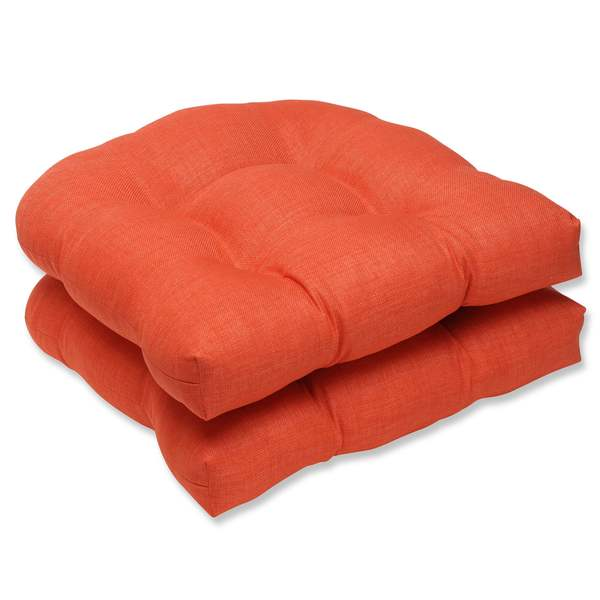 pillow perfect outdoor indoor rave coral wicker seat cushion set of 2 free shipping today. Black Bedroom Furniture Sets. Home Design Ideas