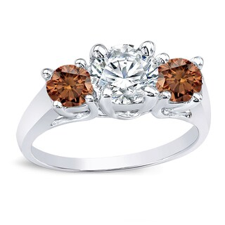 Auriya 14k Gold 2ct TDW 3-Stone Engagement Ring (Brown, I1-I2)