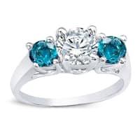 Auriya 14k Gold 2ct TDW Round 3-Stone Blue and White Diamond Engagement Ring