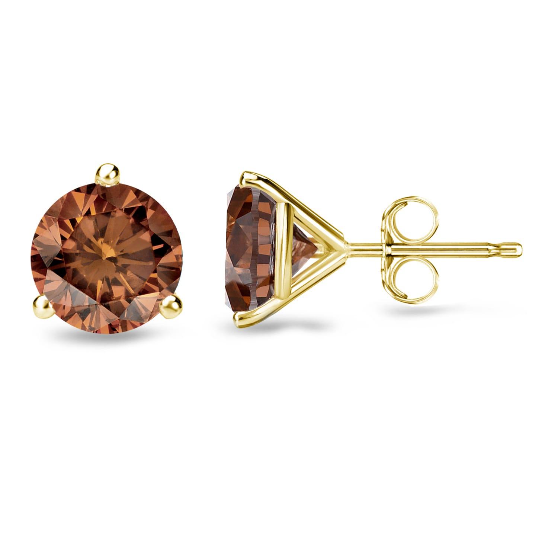 Auriya 14k Gold 1 2 To 2ctw Round Martini Set Brown Diamond Stud Earrings