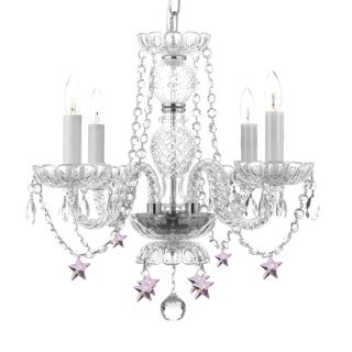 All Crystal 4-light Chandelier with Pink Stars