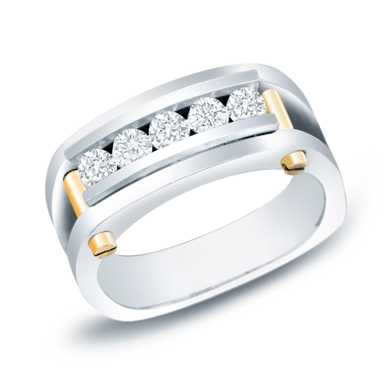 Auriya 14k Two Tone Gold Men S 3 4ct Tdw 5 Stone Diamond Wedding