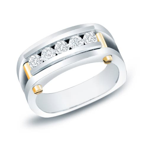 Auriya 14k Two-tone Gold Men's 3/4ct TDW 5-stone Diamond Wedding Band Ring