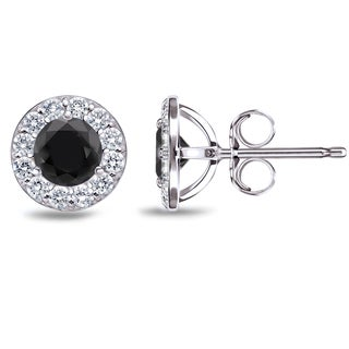 Auriya 14k White Gold 1/2ct to 3ct TDW Black and White Diamond Halo Stud Earrings