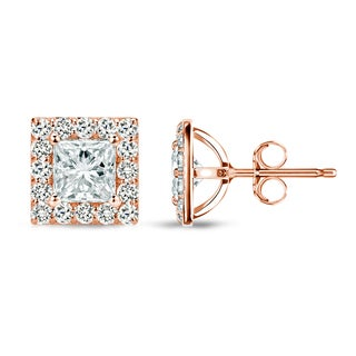 14k Rose Gold 1ct TDW Princess-Cut Diamond Halo Stud Earrings - White I-J